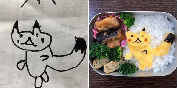 Ông bố Nhật miêu tả về hộp cơm mô phỏng bức tranh của con gái như sau: Hộp cơm hình Pikachu được vẽ bởi con gái tôi. Chú Pikachu dường như đang bước tới phía một quả bóng quái vật nhưng trông hơi yếu ớt. Sự lo lắng củaYouna-san (tên con gái Ozeki)về quãng thời gian tại trường mẫu giáo thể hiện rõ trong bức tranh. Làm tốt nhé con gái!