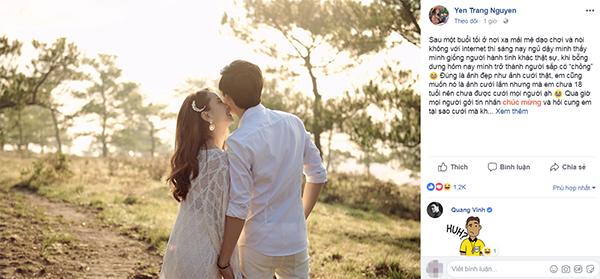 Yến Trang lên tiếng về tin đồn đám cưới.