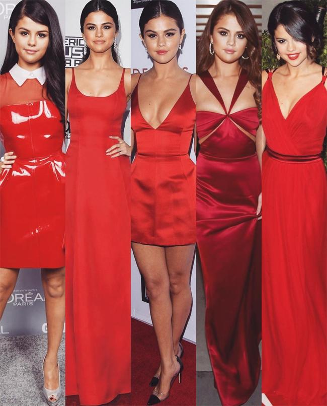 Hình ảnh Selena Gomez được The Catwalk Italia đăng tải trên Instagram. Trong ảnh ngoài cùng bên phải , Selena mặc thiết kế của Dolce & Gabbana.