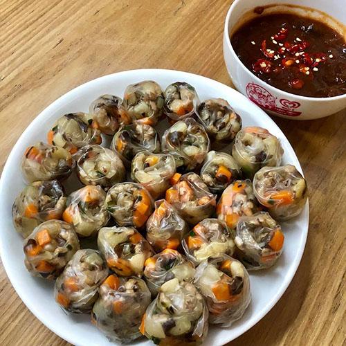 Món bánh tráng lụi thành phẩm. Ảnh: Thiên Thanh Nguyễn