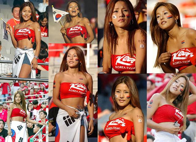 Hình ảnh Mina trên khán đài cổ vũ đội Hàn Quốc trong World Cup 2002 từng khiến cô trở thành ngôi sao trên nhiều mặt báo.