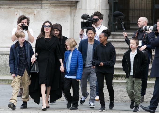 Jolie và các con: Maddox, Pax Thiên, Zahara, Shiloh, Vivienne và Knox.