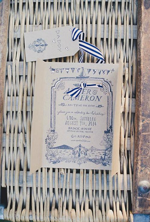 Tấm thiệp cưới có gam màu xanh dương làm chủ đạo và được buộc ruy băng sọc xanh trắng.