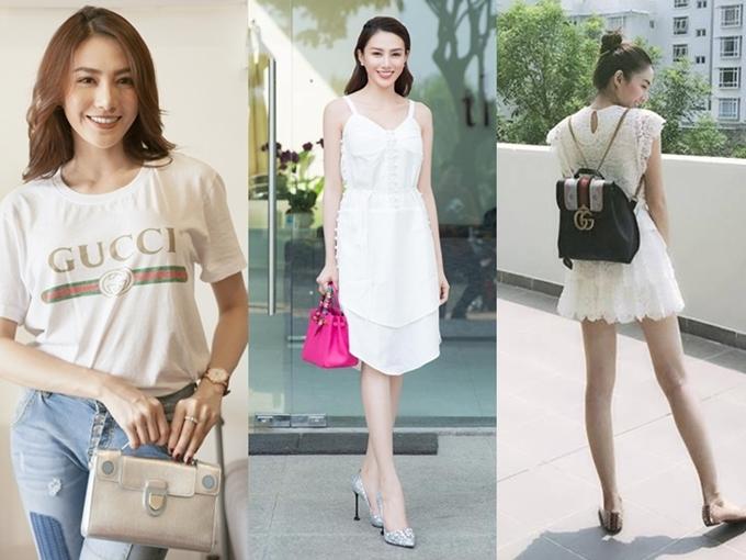 Từ ba lô, túi xách đến chiếc áo thunđều là hàng hiệu đắt đỏ, minh chứng khả năng chịu chi của Lê Hà dành cho thời trang.