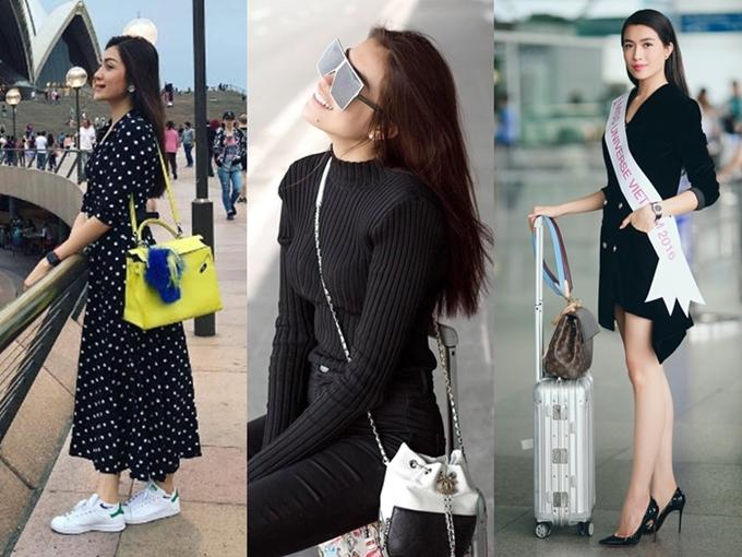 Ngay cả khi ra sân bay hay đi du lịch, Lệ Hằng cũng phủ đầy hàng hiệu lên người, với loạt thương hiệu: Chanel. Louis Vuitton, Loubutin... Cô thường kết hợp đi du lịch, công tác và mua sắm những món hàng hiệu yêu thích.