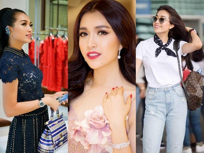 Ngoài phụ kiện túi xách hay đồng hồ, Lệ Hằng còn chưng diện cả trang sức kim cương tiền tỷ mỗi khi đi dự sự kiện hay tham gia Miss Universe 2016.