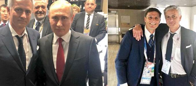 Mourinho đứng nghiêm cạnh Putin, khoác vai khi chụp ảnh với học trò cũ