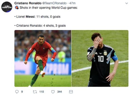 Đá trượt penalty, Messi thành chủ đề bị chế ảnh và so sánh với Ronaldo - 2
