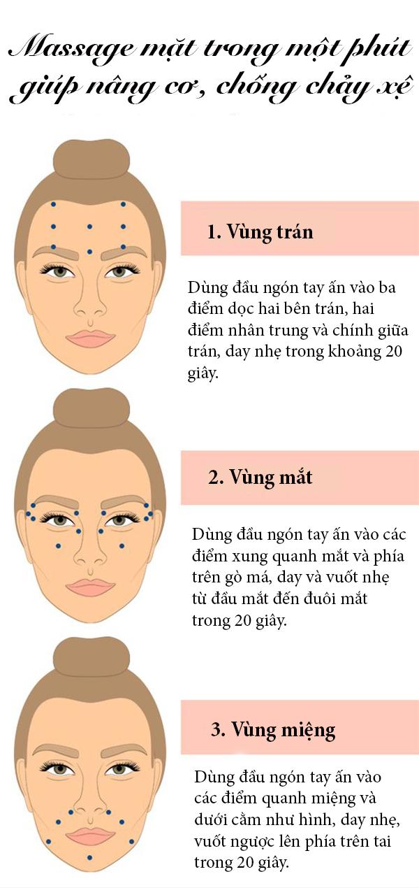 Dành một phút massage mặt mỗi ngày giúp nâng cơ, chống chảy xệ