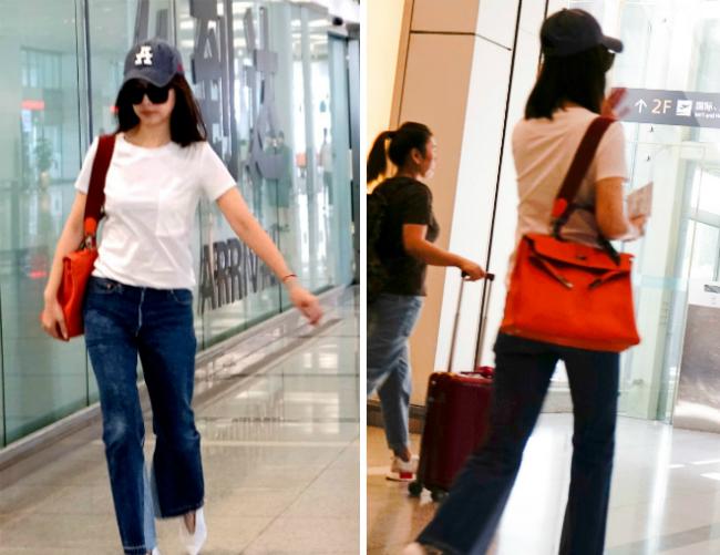 Trướcđó, nữ diễn viên xuất hiện tại sân bay Hàng Châu với trang phục khỏe khoắn, giản dị.