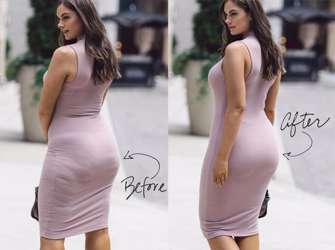 Một ví dụ cho thấy khả năng hô biến cơ thể của shapewear.