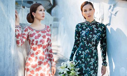 Hoa hậu Thu Hoài diện áo dài hoa Công Trí