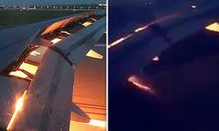 Máy bay chở tuyển Arab Saudi phụt lửa ở cánh vì va phải chim