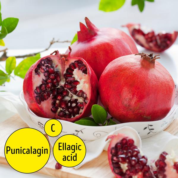 Giống như cam, lựu cũng rất giàu vitamin C. Ngoài ra, quả lựu chứa axit ellagic và punicalagin. Punicalagin được cho là làm tăng khả năng của cơ thể để bảo tồn collagen, và axit ellagic chống lại thiệt hại từ các gốc tự do và cũng làm chậm sự phân hủy collagen.