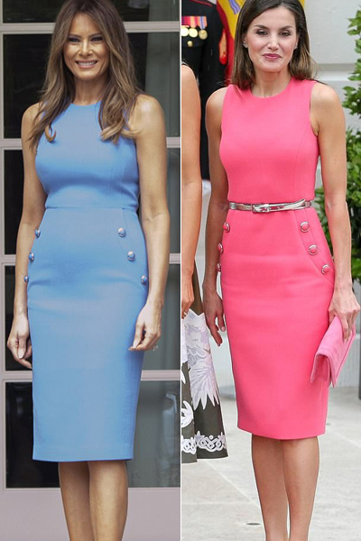 The Queen of Spain wore a dress that appeared similar to a blue version Melania Trump wore to greet Lorena Castillo Garca de Varela, first lady of Panama, in June 2017.