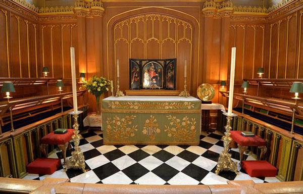 Nhà nguyện nơi sắp diễn ra lễ rửa tội của Hoàng tử Louis. Ảnh: PA.