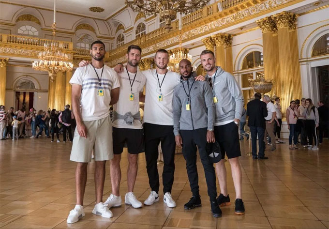 Elsewhere, Eric Dier, Jordan Henderson and Fabian Delph were just three stars who visited the Hermitage Museum in St Petersburg during their day off.