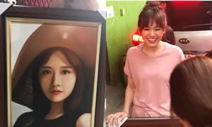Hari Won không nhận ra mình trong bức tranh fan tặng