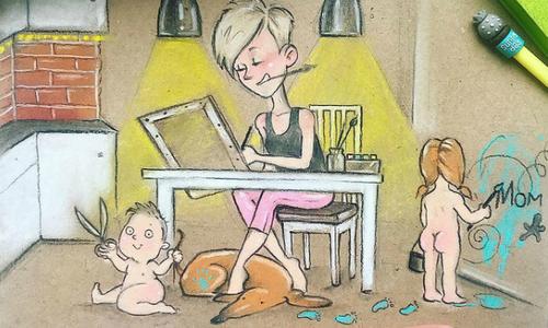 Họa sĩ 2 con vẽ về cuộc sống hàng ngày mà cha mẹ có thể thấy mình trong đó