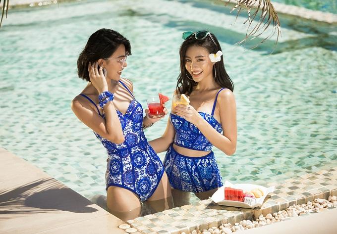 Họa tiết gạch bông retro: Năm nay, bikini với hoạ tiết gạch bông retro là xu hướng quay trở lại và thu hút sự chú ý của những cô nàng yêu thích phong cách cổ điển.