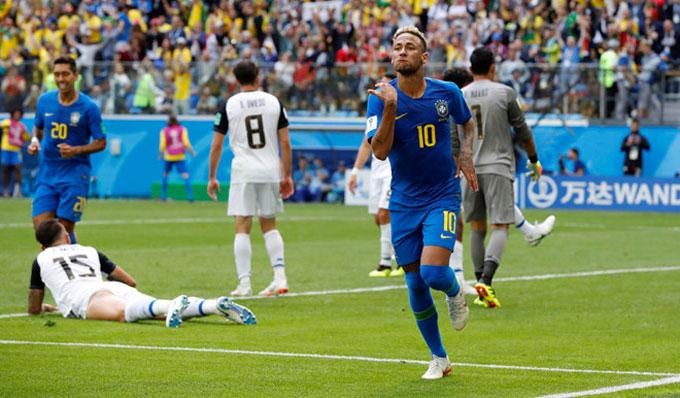 Neymar có bàn thắng đầu tiên ở giải đấu. Ảnh: AP.