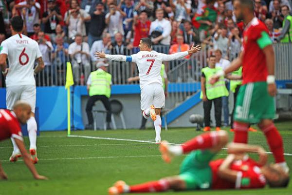 Ở trận gặp Marốc, CR7 ghi bàn duy nhất giúp tuyển Bồ Đào nha giành chiến thắng.