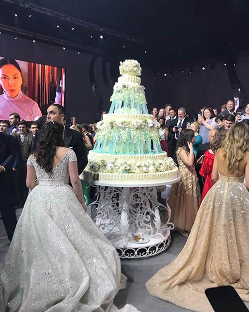Chiếc bánh cưới nhiều tầng có những cột đá làm trụ. Theo tờ Thisisinsider, tổng chi phí cho thức ăn tại tiệc cưới tốn khoảng 460.000 USD. Các vị khách được thưởng thức cá hồi, món cơm pilaf của Uzbekistan, mơ Iran, hoa quả tươi, bánh kebab, bánh ngọt, champagne Pháp& Đám cưới còn có sự góp mặt của ban nhạc, vũ đoànđể khuấy động không khí.