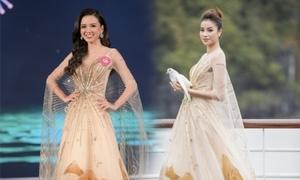 Thí sinh HHVN diện lại váy của 'đàn chị' diễn chung khảo