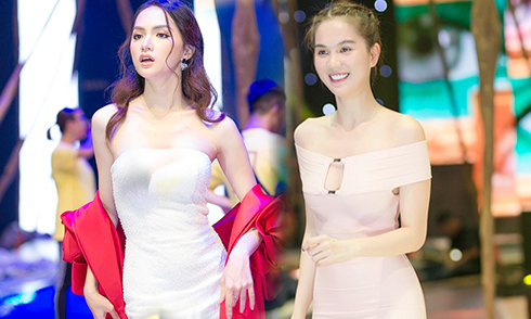 Hương Giang, Ngọc Trinh mặc gợi cảm đi tập catwalk