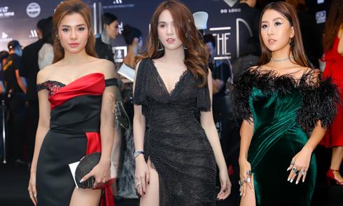 Dàn người đẹp diện váy xẻ cao đi xem thời trang
