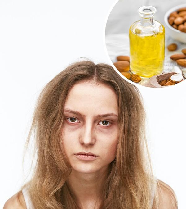 Trị quầng thâm dưới mắt Dùng dầu hạnh nhân để massage vùng da dưới mắt mỗi tối giúp làm tan bọng mắt, quầng thâm hiệu quả.