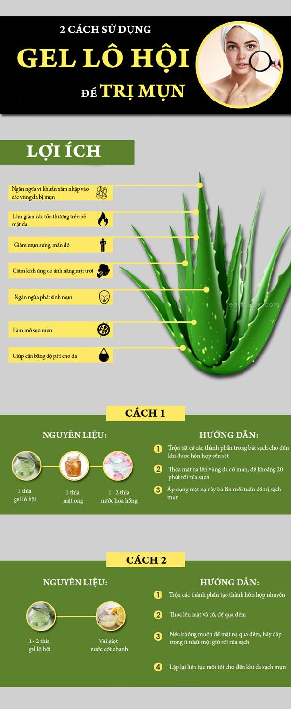 2 cách dùng gel lô hội để trị sạch mụn