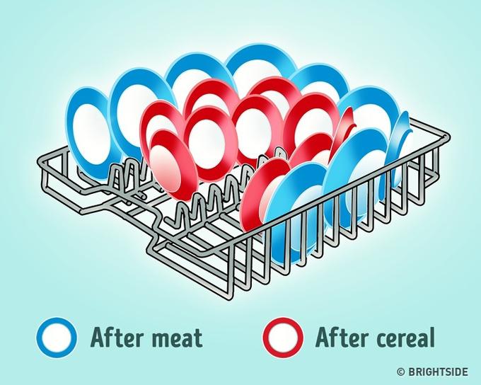 Ở Việt Nam, máy rửa bát không quá thông dụng nhưng ở các nước phương Tây, thiết bị này rất quen thuộc trong các nhà bếp. Khi xếp đĩa vào máy, người ta thường không để ý đến thứ tự và vị trí xếp đĩa. Bạn nên đặt các đĩa theo đường vòng cung, và hướng lòng đĩa vào bên trong vì đây là hướng di chuyển của nước.  Bên cạnh đó, bạn nên đặt các đĩa đựng thực phẩm ngũ cốc, mì ốngở trung tâm. Các đĩa nên được đặt ở hai bên là đĩa đựng thực phẩm giàu protein như thịt. Với cách phân loại đúng nguyên tắc, bát đĩa sẽ được rửa rất sạch sẽ.