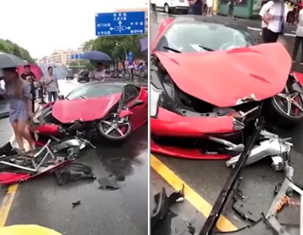 Đầu xe Ferrari bẹp dúm vì cú đâm mạnh. Ảnh cắt từ video.