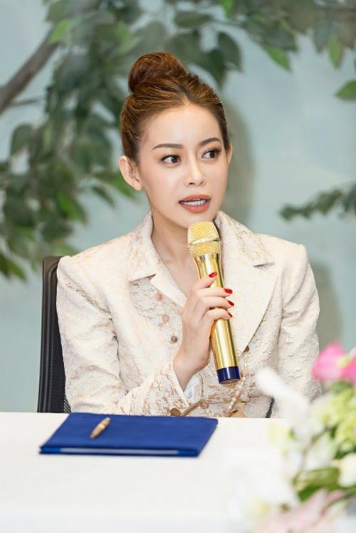 Hoa hậu Hải Dương phát biểu trong buổi họp báo công bố cuộc thi Miss Supranational tại Việt Nam.