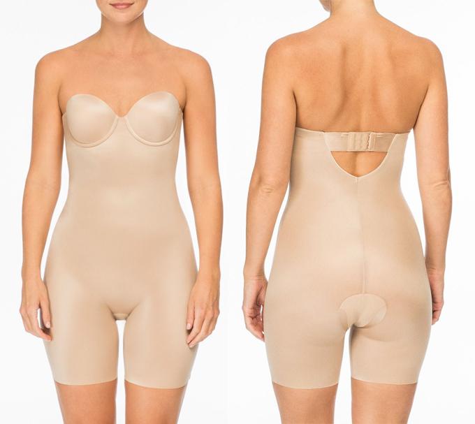 Nếu đầm không xẻ cao và người mặc có vòng ba cùng phần đùi ngấn mỡ, thiết kế shapewear dài ngang đùi chính là gợi ý hiệu quả.
