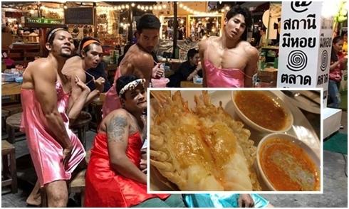 Vừa ăn hải sản vừa ngắm trai cơ bắp mặc áo ngủ ở chợ đêm Thái Lan