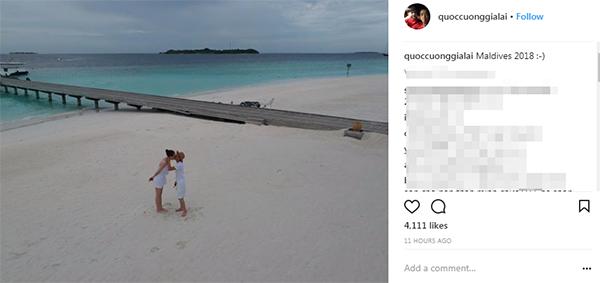 Cường Đô La đăng ảnh hôn Đàm Thu Trang ở Maldives.