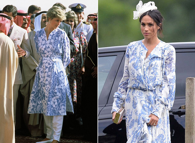 Hai mẫu trang phục của hai người phụ nữ hoàng gia có nhiều điểm tương đồng. Ảnh:WireImage/BAV.