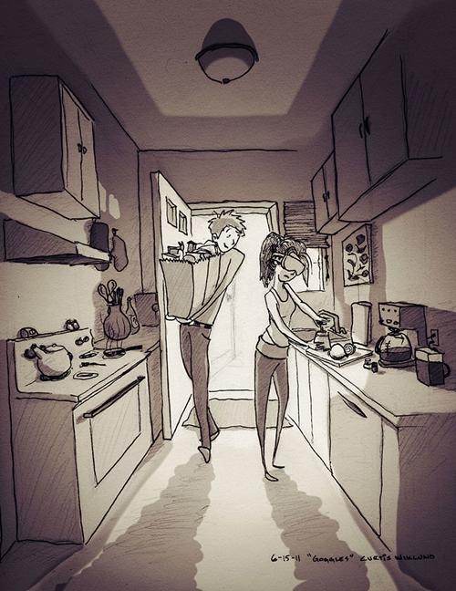 Curtis yêu cách vợ mình làm chủ căn bếp, nhưng phải sử dụng kính trượt tuyếtđể không bị cay mắt khi thái hành tây.