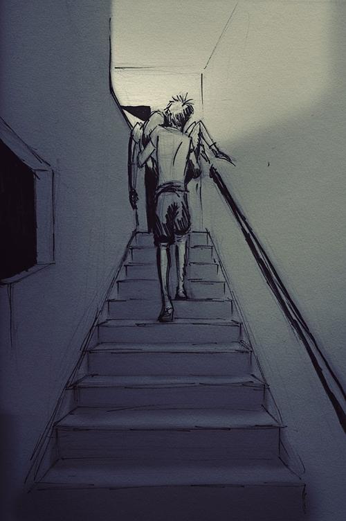Nhiếp ảnh gia sẵn sàng bế Jordin và di chuyển trên cầu thang bộ, khi cô thấy kiệt sức sau một ngày dài.