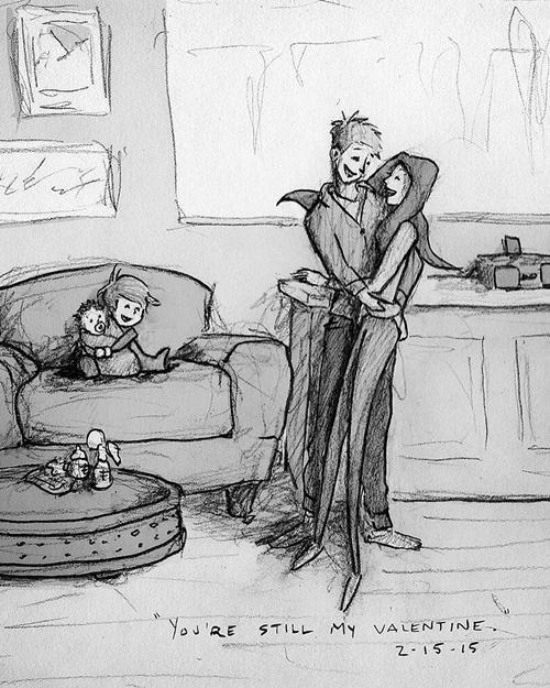 Khi đã là cha mẹ của hai đứa trẻ,Curtis vẫn thốt lên với vợ rằng: Em vẫn là Valentine của tôi.