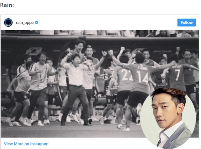 Ca sĩ, diễn viên Rain, ông xã của Kim Tae Hee: Cuối cùng chúng ta có thể cho thế giới thấy Quỷ Đỏ thực sự là thế nào. Rất tự hào.