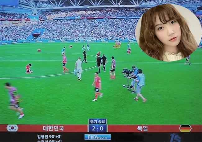 Ji Sook đăng ảnh chung cuộc của trận đấu với tỷ số 2-0 nghiêng về Hàn Quốc, kèm theo chia sẻ: Tôi đangkhóc.