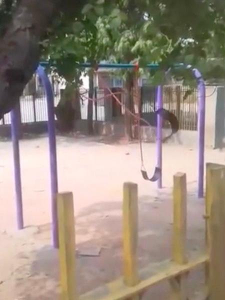 Người quay video bỏ chạy khi thấy chiếc xích đu không có dấu hiệu dừng lại. Ảnh cắt từ video.