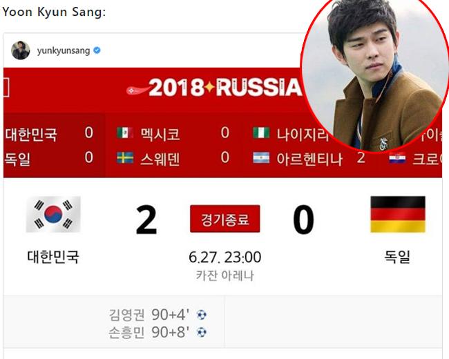 Yoon Kyun Sang: Nước mắt đã tuôn rơi. Dù cho các anh không vào được vòng 16, tôi vẫn rất hạnh phúc. Lần đầu tiên Đức - một trong những đội bóng mạnh nhất thế giới thất bại ở vòng bảng, với tỷ số 2-0. Tôi nhìn thấy tinh thần chiến đấu của chúng ta, thật khó khăn biết bao cho các cầu thủ. Xin gửi tới các cầu thủ - các anh sẽ còn lớn mạnh nữa, sẽ kỳ vọng thật nhiều, quan tâm và yêu thương thật nhiều.