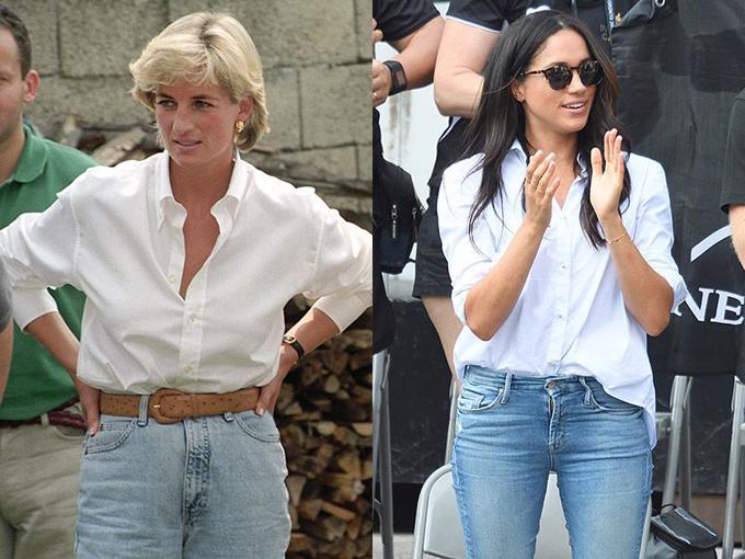 Vào tháng 9 năm 2017, Meghan thể hiện nét phóng khoáng khi kết hợp ngẫu nhiên áo sơ mi trắng với quần jeans tại Invictus Games, Toronto, Canada. Cố công nương cũng từ mặc một bộ đồ y hệt trong chuyến thăm Bosnia năm 1997.