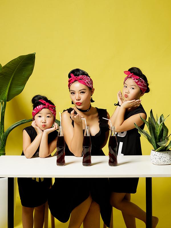 Thanh Hương và hai con gái trong bộ ảnh mới thực hiện. Ảnh: Phạm Nam