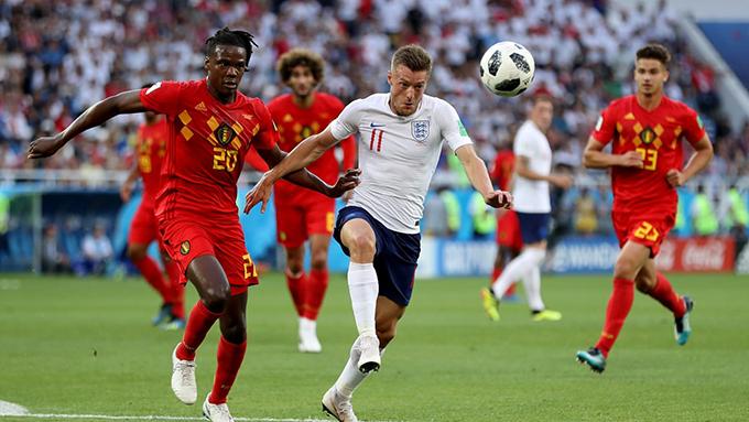 Vardy đá chính thay Harry Kane nhưng anh không để lại nhiều dấu ấn trong trận gặp Bỉ. Ảnh: FIFA.