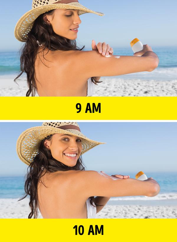 Ngăn ngừa bỏng nắng Kem chống nắng chính là phương pháp hiệu quả nhất để ngăn ngừa da bỏng nắng. Nên thoa kem chống nắng 30 phút trước khi ra khỏi nhà. Nếu ở ngoài trời nắng liên tục trong khoảng thời gian từ 9 giờ sáng đến 16 giờ chiều, hãy thoa lại kem chống nắng vài lần. Nên sử dụng áo chống nắng, mũ rộng vành, khẩu trang, kính râm để hạn chế tác hại của ánh nắng mặt trời.